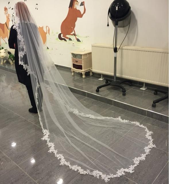 2015 белый / слоновая кость фата 3 м длинный гребень кружева мантилью собор фата ...