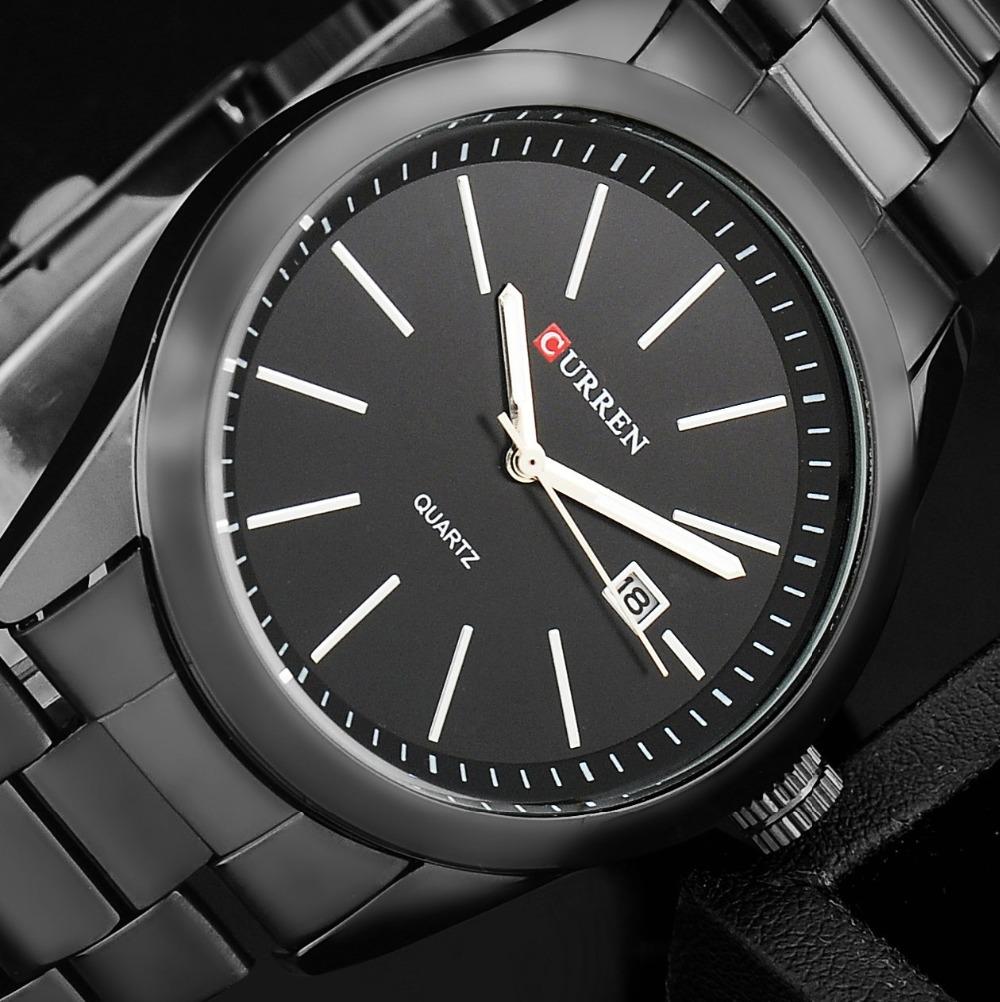 Original Curren titanium black men military sports watches quartz fashion watch full steel band watch date display(China (Mainland))