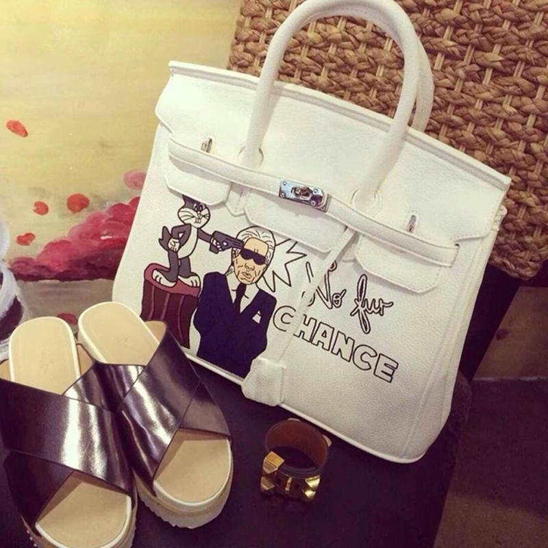 2015 New Fashion Handbags Cartoon Spoof H Platinum Litchistria Portable Wind Bag Shoulder Messenger Bag<br><br>Aliexpress