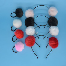 Pompom Ball Hairband Rope Ring Hair Band Scrunchie Ponytail Holder Hair Accessories Party Gift