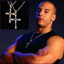 2015 New Necklaces & Pendants for Men 3D movie Fast & Furious Teretto Toledo Necklace with Latin Cross Chian Zinc Alloy Jewelry