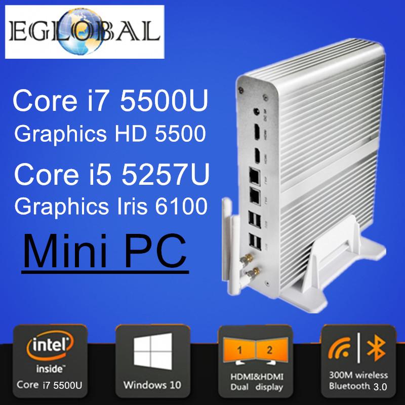 Windows Mini pc i7 Barebone HTPC Intel Nuc Fanless Computer Broadwell 5Gen Core i7 5500U i5 5257U Graphics Iris 6100 5500 Wifi(China (Mainland))