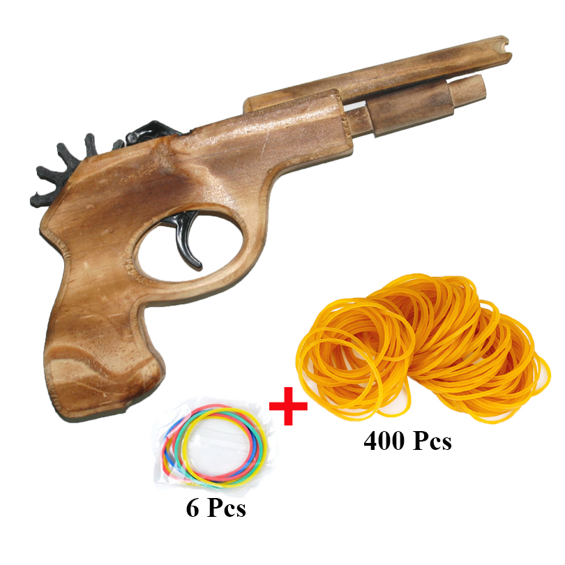 Unlimited bullet Classical Rubber Band Launcher Wooden Hand Pistol Gun Shooting Toy Guns Gifts Boys Outdoor Fun Sports For Kids(China (Mainland))