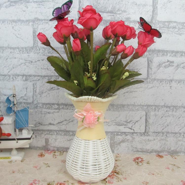 Rotin en plastique en osier Vase décoration de mariage de mariage décoration de la maison bureau chambre tenant bonbons Vase livraison gratuite 5Z-HD013(China (Mainland))