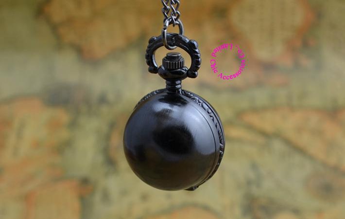 low price good quality fashion lady quartz retro nice new black ball pocket watch necklace with chain(China (Mainland))