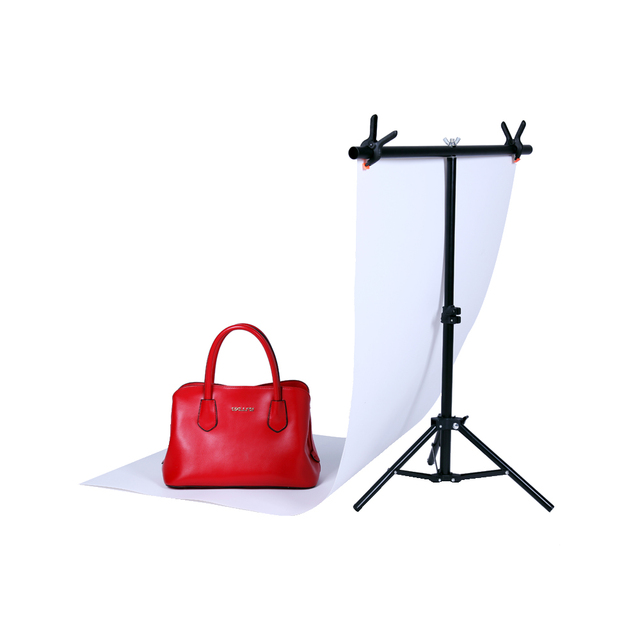 Photography Small 76*68CM PVC Backdrop Background Support Stand System T- Frame Light Stand With 2PCS  3.5'' Clamp
