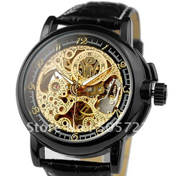 Fashion Men's Style Skeleton Black & Gold Dial Hand Wind Automatic Mechanical Watch - Cougar Trading Co., Ltd., Guangzhou store