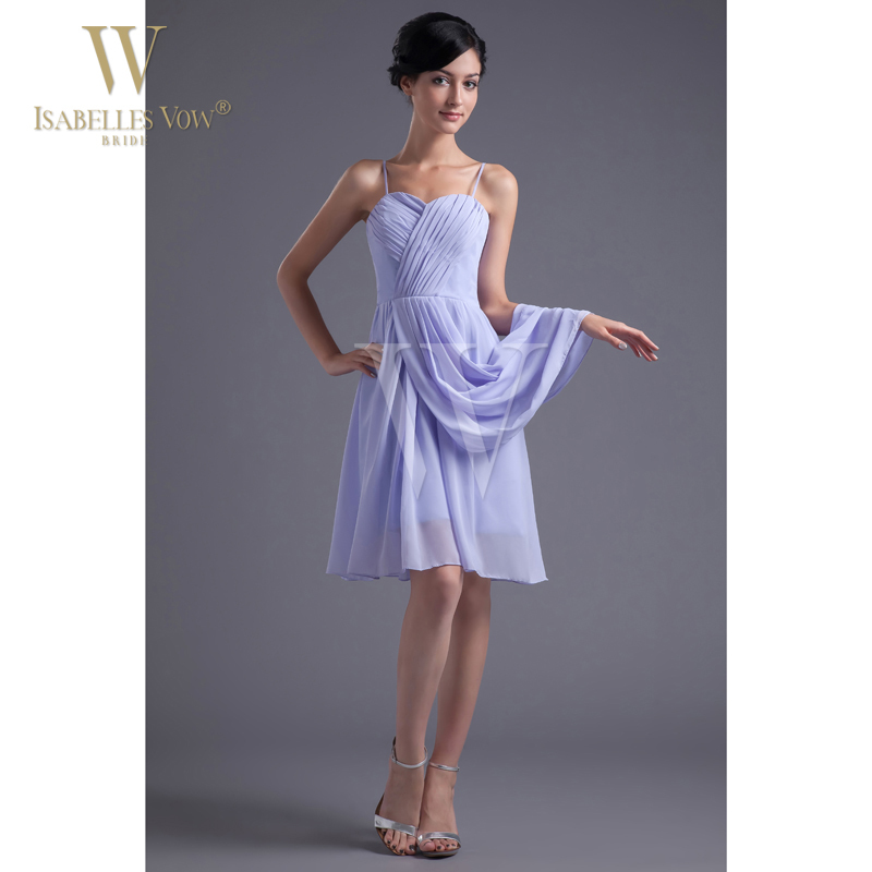 Sexy Cocktail Dress Lavender Short Mini Spaghetti Straps Chiffon A Line Cocktail Dress Homecoming Dress Can Be Customized WD143(China (Mainland))