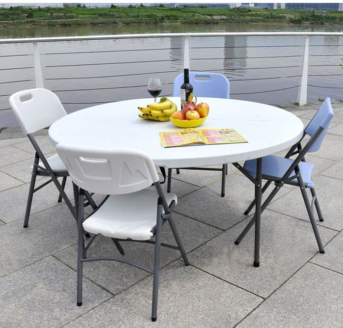 Folding round table picnic table and chair set camping - Camping picnic table and chairs ...