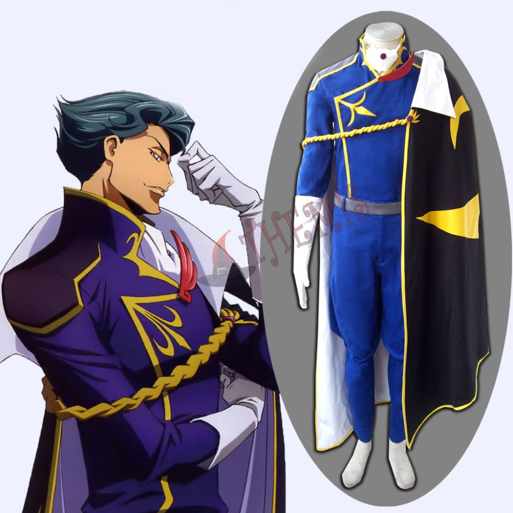 Athemis Hot Blue Outfit Code Geass Jeremiah Gottwald Cosplay Costumes Black Printing Cloak Set Halloween Surppliers(China (Mainland))