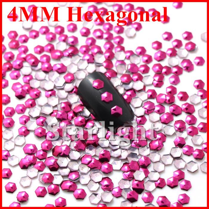 [ Retail ] Lovely nai art decorations 4MM hexagonal shape ROSE color 1000pcs Nail sticker Free shipping(China (Mainland))