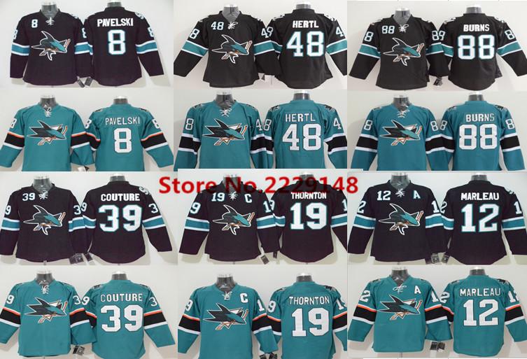 Men's #88 Brent Burns #8 Joe Pavelski #19 Joe Thornton #39 Logan Couture 12 Patrick Marleau Tomas Hertl Teal Green Black Jerseys(China (Mainland))