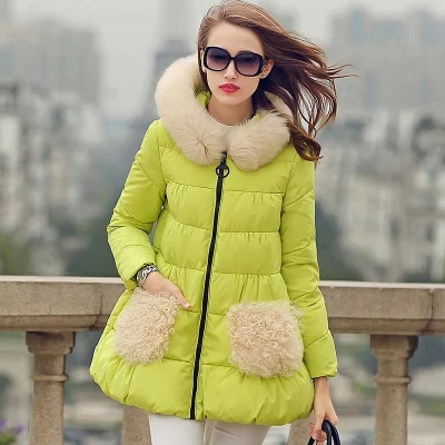 2015 luxury real fox collars down jacket female thickening A word skirt cultivate one's morality in the long winter coat dress