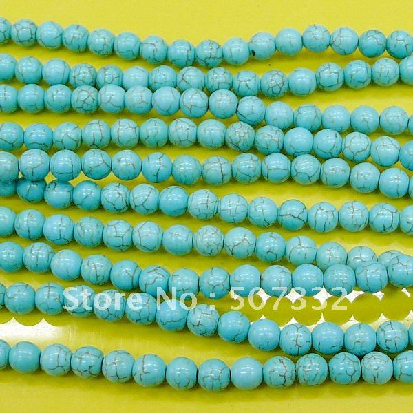 Free shipping(China Post Air Mail) 600pcs 8mm thread turquoise round beads in wholesale(China (Mainland))