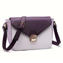Miss Lulu Women Purple Small Size Patchwork PU Leather Cross Body Shoulder Bag Envelope Hasp Messenger Satchel(China (Mainland))