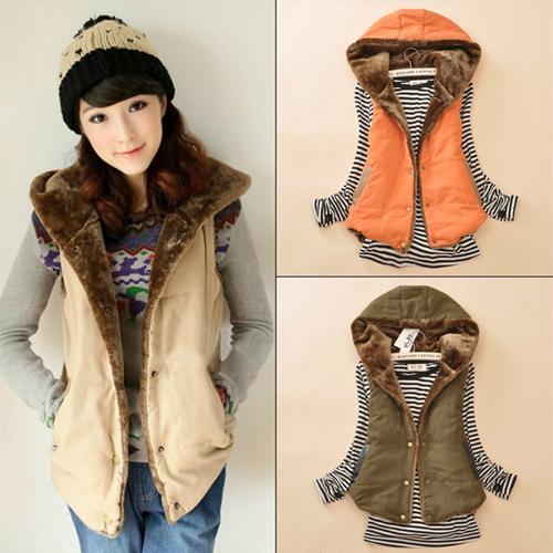 2015 Women Spring & Autumn Waistcoats Length Jacket Hooded Thick Cotton Coat Warm Velvet Sleeveless Vests Female Plus Size(China (Mainland))