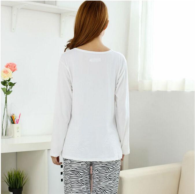 Свободного покроя женщины домашняя одежда пижамы комплект длинный рукав тонкий женское девочек ночь пижама
