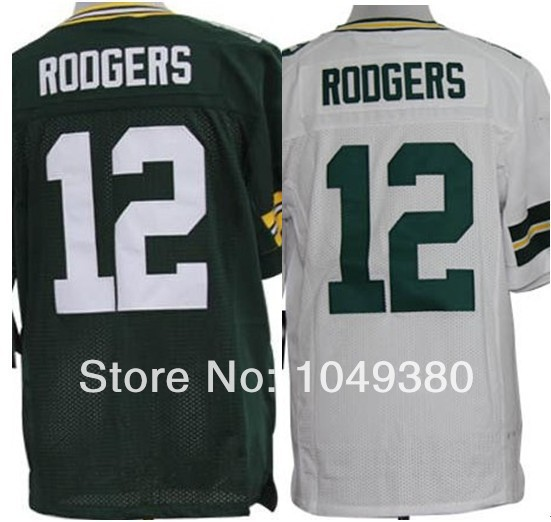 free shipping , Green Bay Authentic American Football Jerseys #12 Aaron Rodgers Elite Game Team Color Home Green Road White Jers(China (Mainland))