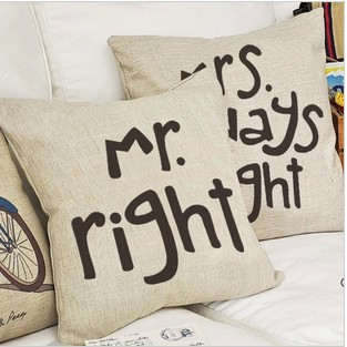 #591 mr right mrs always right creative wedding home ornament pillow case cushion cover min1lot/2pcs promotion(China (Mainland))