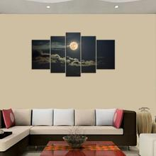 5pcs/set Panels Dark Moon Picture Mountain Night Landscape Painting for Bedroom Wall Art Canvas Prints No Frame #92541(China (Mainland))