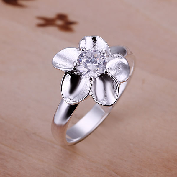 R117 925 silver ring, fashion jewelry, White Stone Rose Ring  -  fengqin gong's store store