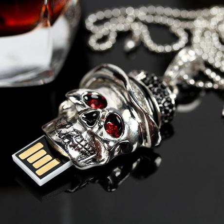Genuine Capacity USB Flash Drives 16GB 32GB 64GB, Skull Memory Stick, Gift Pen Drive, Jewelry USB Flash Drive 1TB Pendrive 2TB(China (Mainland))