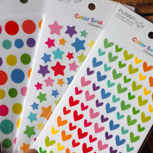Min Order is $5,(1 Lot=6 Sheets) DIY Scrapbooking Paper Colored Star Stickers Birthday Wedding Album Decoration Heart Crafts(China (Mainland))