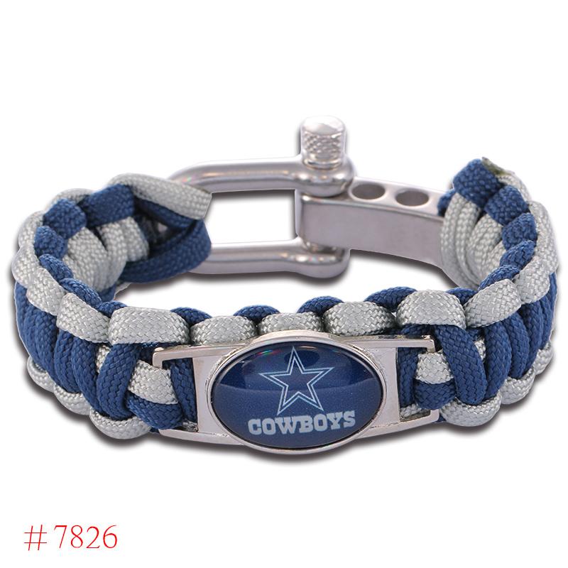 NFL Dallas Cowboys Paracord Bracelet Adjustable Survival Bracelet Football Bracelet , Drop Shipping! 6Pcs/lot!(China (Mainland))