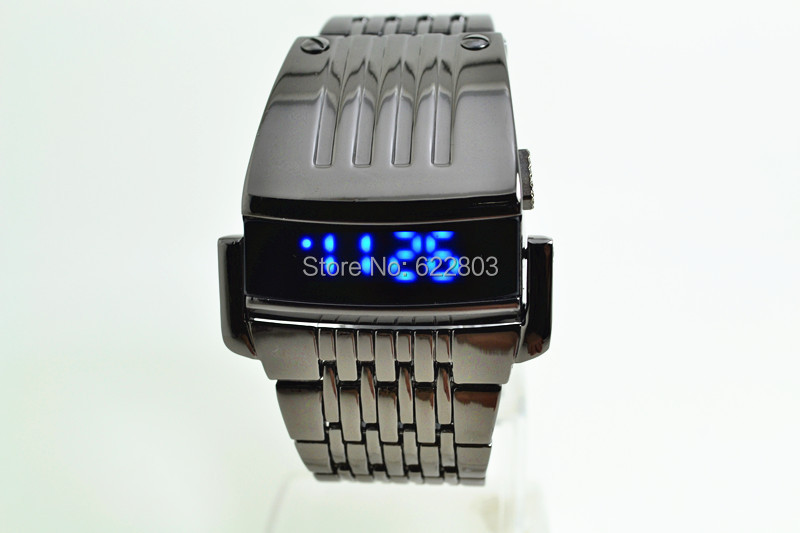 2014 New Fashion Full Steel Led Watch Digital Men Sports Watches Men Military Watches Metal LED Faceless Bracelet Wristwatch<br>