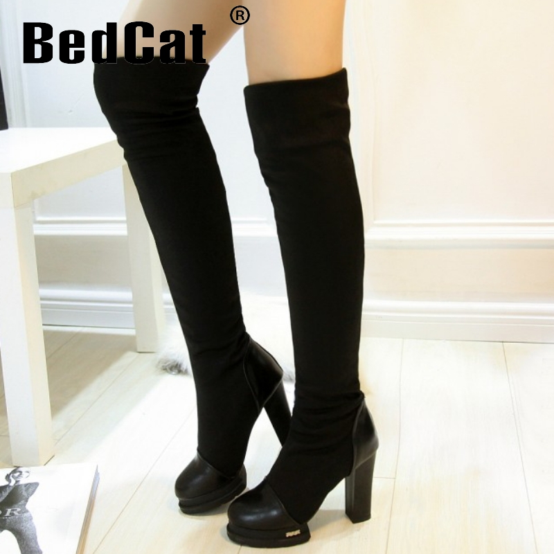 CooLcept Free shipping over knee high heel boots women snow fashion winter warm shoes boot P15573 EUR size 34-39<br><br>Aliexpress