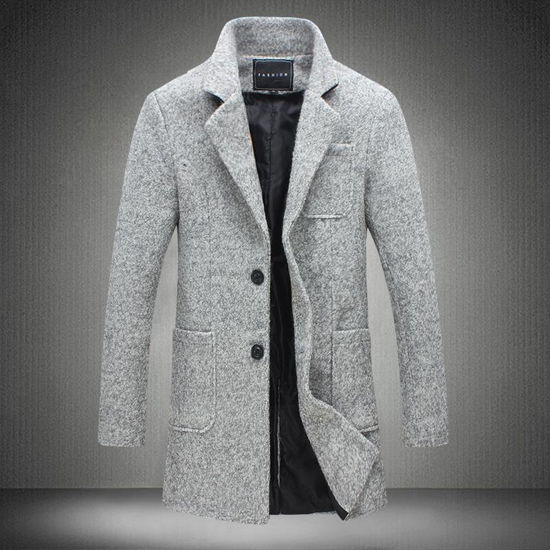 2017 Новый Длинные Траншеи Пальто Мужчины Бурелом Зимняя Мода Мужская пальто 40% Шерсти Толстые Теплые Пальто Мужской Куртки 5XL