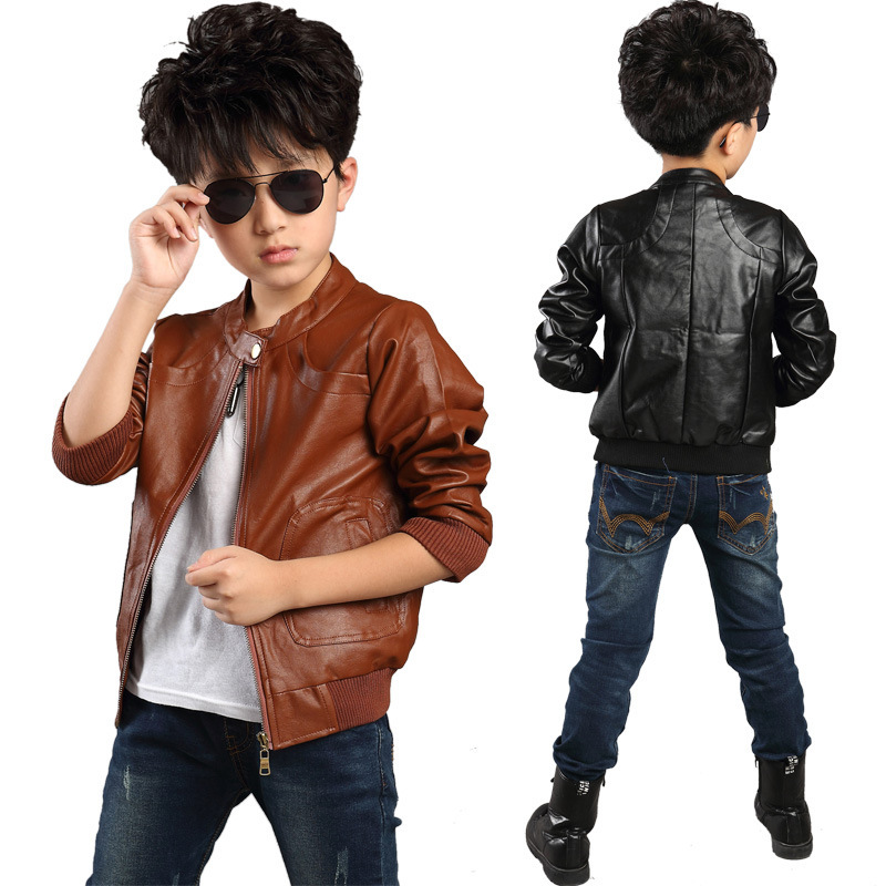 Boys Brown Leather Jacket