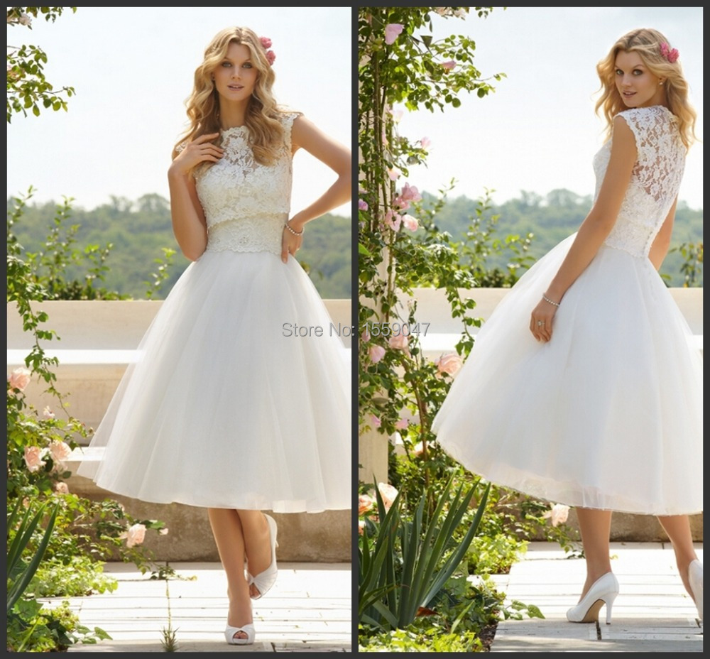 Simple Lace Country Western Tea Length Wedding Dress Short
