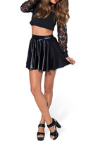 SheOutfit PU /saias Femininas Skater Shirt, Pleated Skirt, Mini Skirt, Short Skirt, Leather Skirt