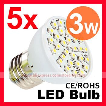 5PCS/Lot 3W E27 E14 B22 30 Smd 3528 Leds 5 Ten Thousand Hours Led Downlight Energy Saving Led Light Bulb Free Shipping