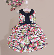 new born floral print baby girls dress striped flower silk belt dresses for party 6M-5Y vestido de festa(China (Mainland))