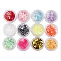 12 Colors set Crushed Sea Shell Paper For Nails UV Acrylic Powder 3D Nail Art Decoration