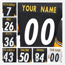 Men's Top Quality Stitched #7 Ben #26 Le'Veon #36 Jerome #43 Troy #50 Ryan #84 Antonio Elite Black Yellow White Jersey(China (Mainland))