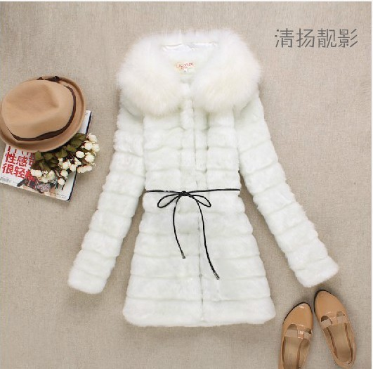 free shipping women long-sleeve artificial fur coat fox fur collar with belt 2014 autumn new elegant women overcoat WJ182(China (Mainland))