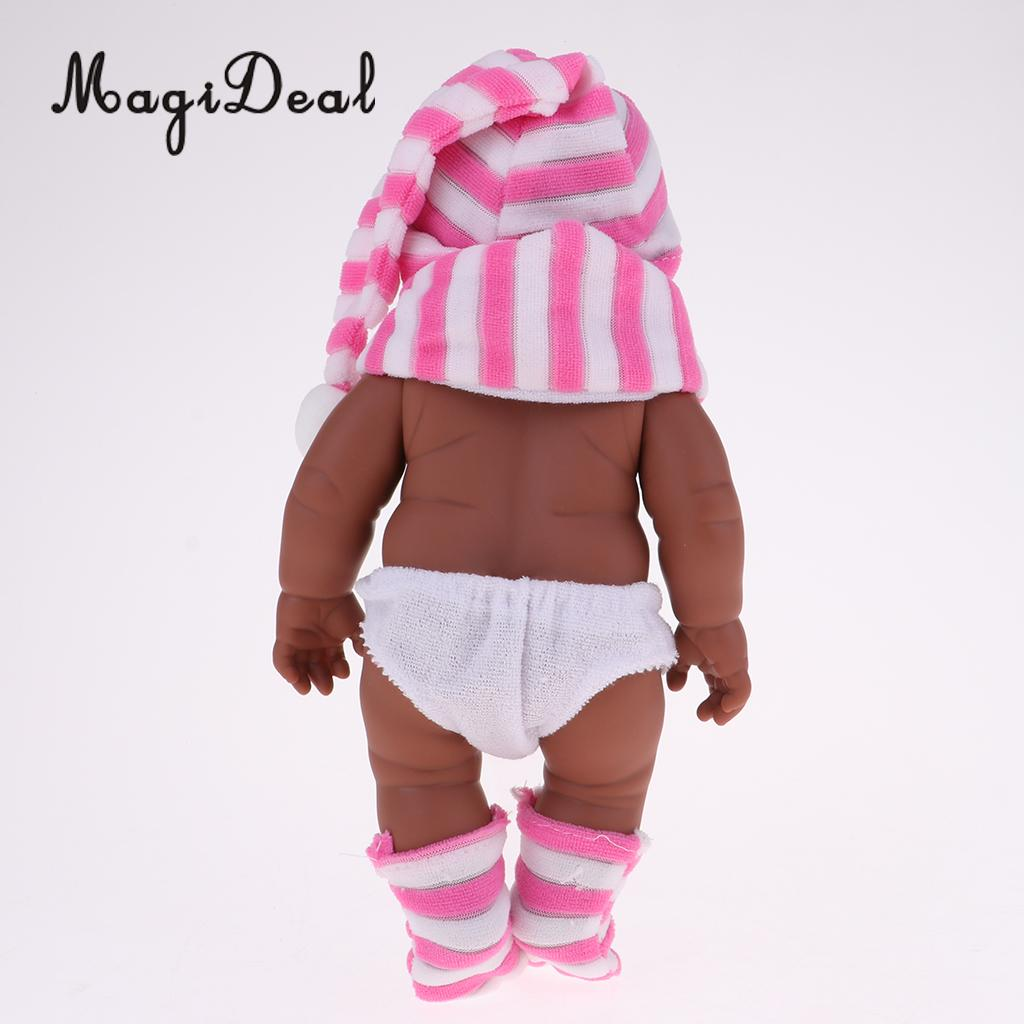 28cm Baby Doll Vinyl African Newborn Infant Baby Doll Black Skin in Pink Striped Hat Scarf Socks Kids Soft Toys