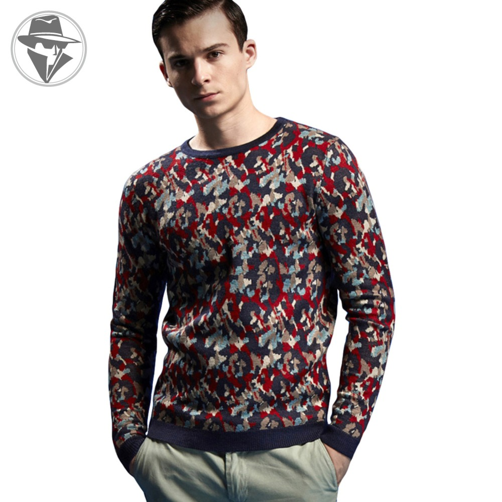 GUEQI Fall Fashion Camouflage Wool Mens Sweaters England Style Crew Neck Mens Pullovers Sweaters Slim Fit Outwear Coats GQ0214Одежда и ак�е��уары<br><br><br>Aliexpress