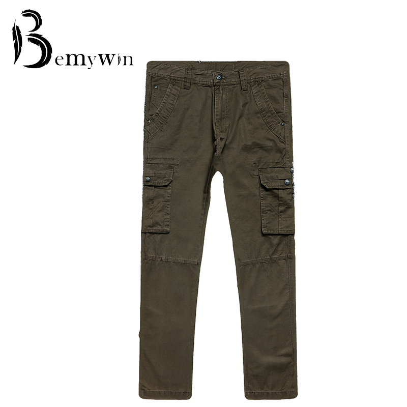 2016 Top Sales Casual Pants Cargo Pants Solid Multi Pocket cargos trousers Men Long pants(China (Mainland))