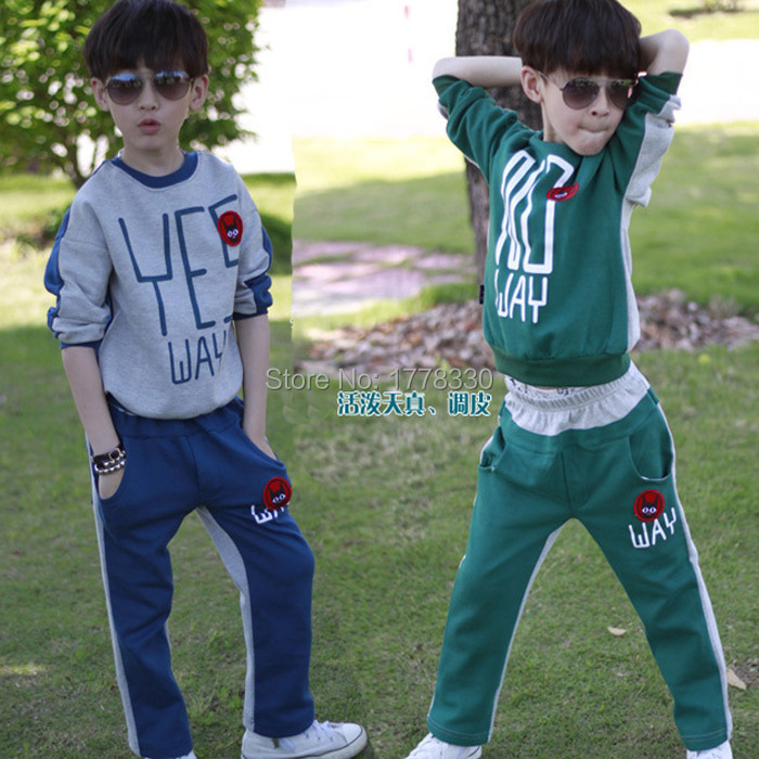 2015 reversible style spring autumn winter clothes for teens alphabet 2 piece boy sport suits set formal free shipping<br><br>Aliexpress