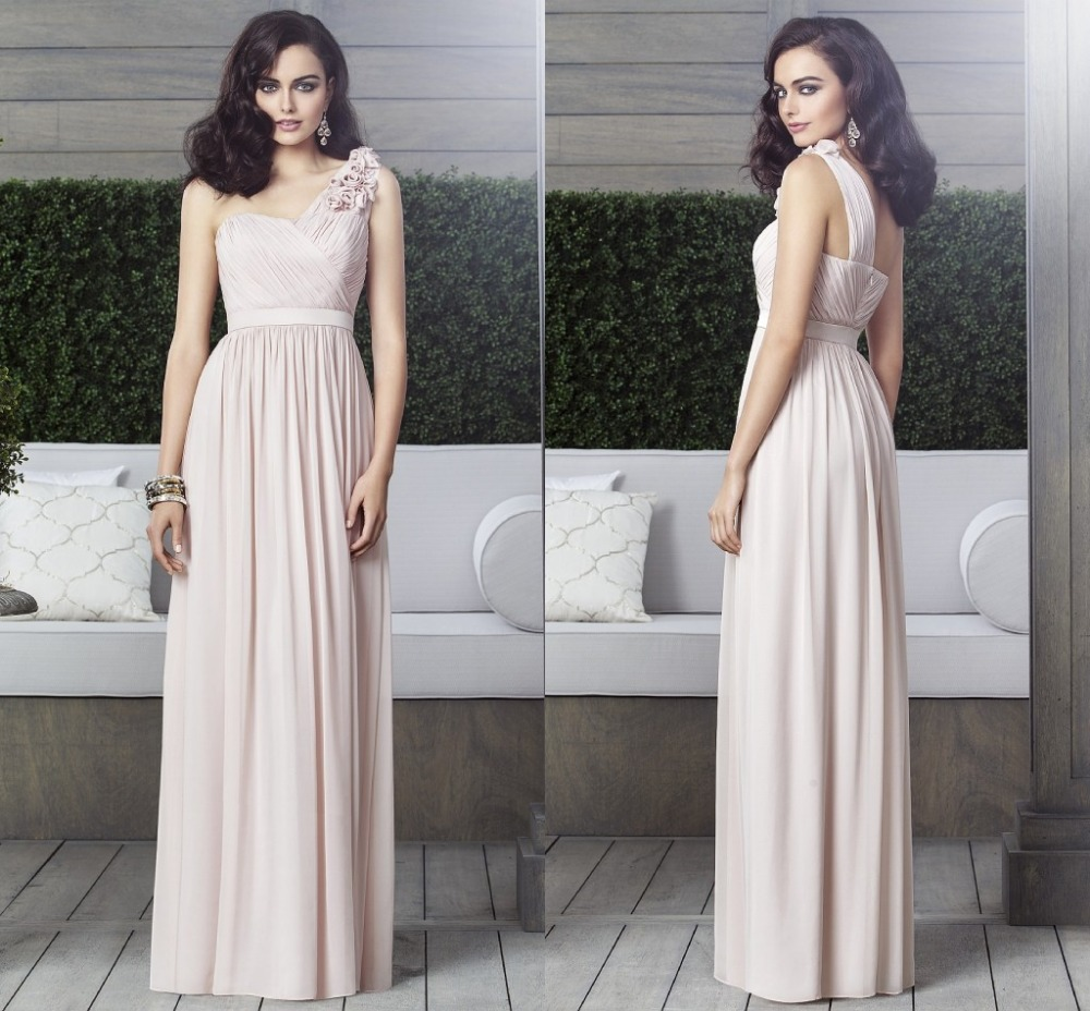 Vestido longo new custom made one shoulder bridesmaid for One shoulder dress for wedding guest