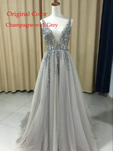 Plus Size High Side Split Green Prom Dress A-Line Tulle Long Party Dress Beaded Sequined Sexy Open Back Formal Evening Dresses(China)