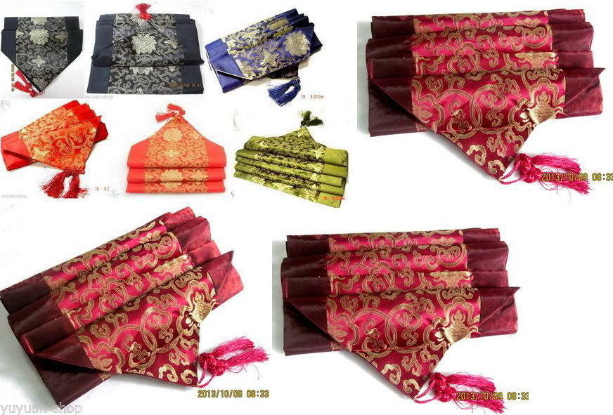 Wholesale Asian Different Colors New Silk Flower Patterns Table Runner(China (Mainland))
