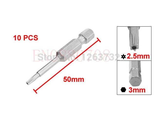 Free Shipping 50mm Length 2.5mm Point T8 Type Security Torx Screwdriver Bit 10 Pcs(China (Mainland))