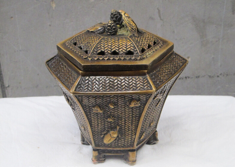 """8""""Chinese sino Bronze gilt insect Cicada dragonflypentagon crate incense burner(China (Mainland))"""