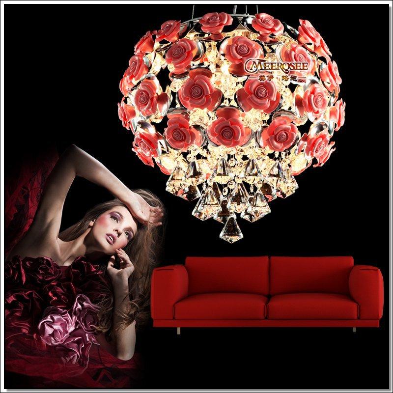 Modern Crystal Chandelier Light Fixture Rose Flower Pink or Beige Crystal Light LED Beans Lamparas Lustre Hanging Drop Lighting<br><br>Aliexpress