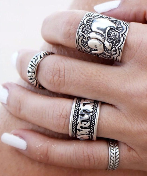 4PCS Vintage Punk Ring Set Anillo Unique Carved Antique Silver Elephant Anel Totem Leaf  Rings for Женщины Hot Boho Beach Jewelry
